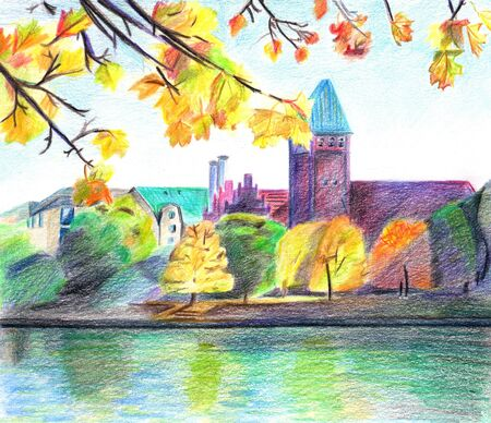 Autumn Landscape  View of the river and castle Stock Photo