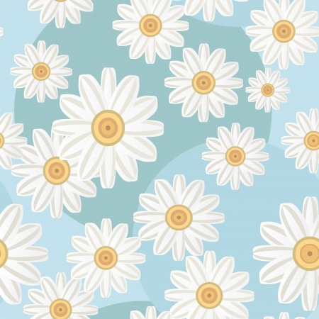 Camomiles pattern  Isolated on blue background