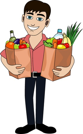 Handsome man is holding a bag full of healthy food  Shopping