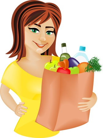 A young red-haired girl is holding a bag full of healthy food  Shopping