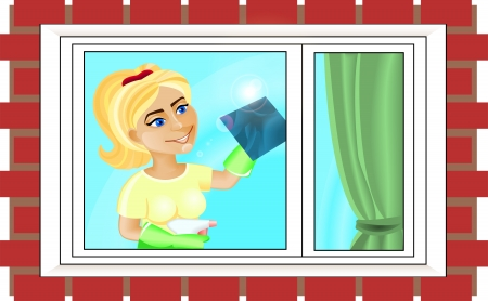 blonde blue eyes: Young woman is washing the window