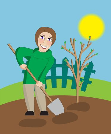 yard work: Middle-aged woman digs in the spring garden
