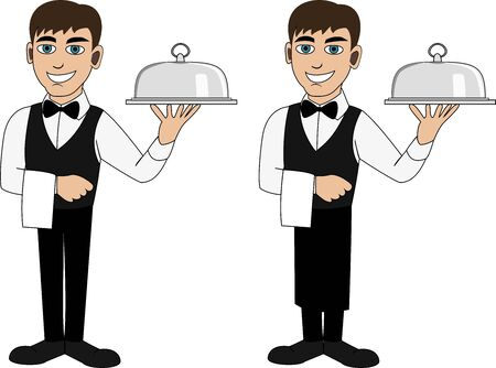 A handsome waiter in a bow tie with a bottle of wine and two wineglasses Vector