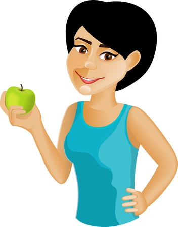 A black-haired girl with an apple in the arms isolated on white background Vector