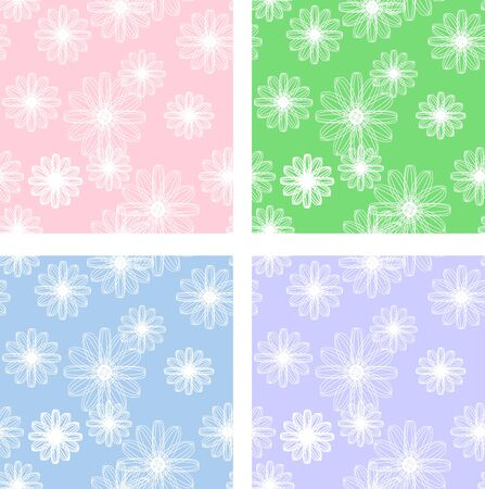Abstract flowers pattern in different variations of colors