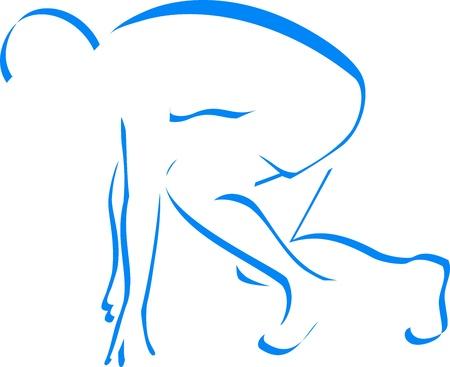 Bleu silhouette coureur isolé sur fond blanc