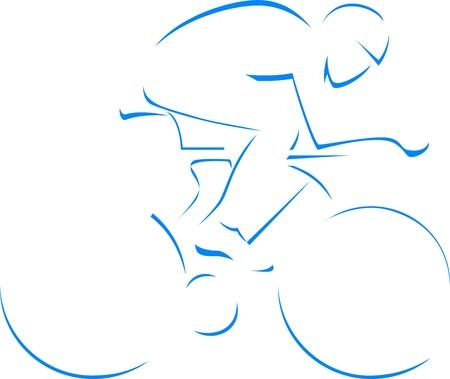 ciclista: Silueta del ciclista de azul aislado en fondo blanco