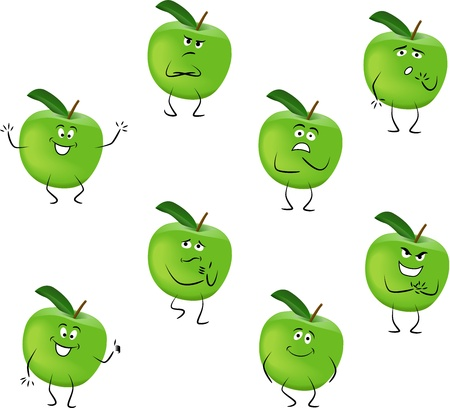 Cartoon green apples with different emotions isolated on white background Illustration