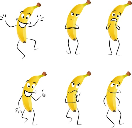 banana: Cartoon bananas with different emotions isolated on white background