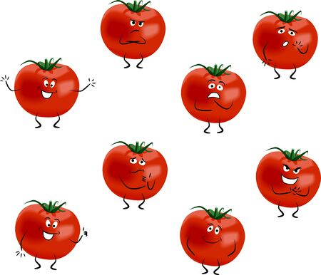 Cartoon tomatoes with different emotions isolated on white background Vector