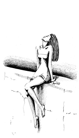 A girl is sitting on a wall  Illustration