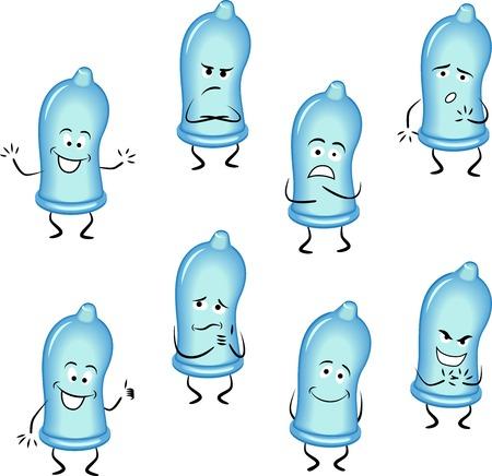 Condoms set isolated on white background