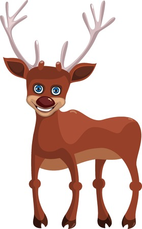 A cartoon happy deer isolated on white background Vector