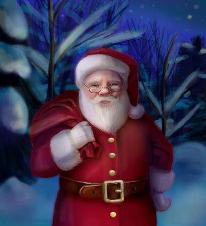 Santa Claus is holding the bag with gifts on winter background