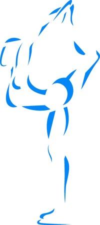 Blau Eiskunstläuferin-Symbol auf weißem Hintergrund