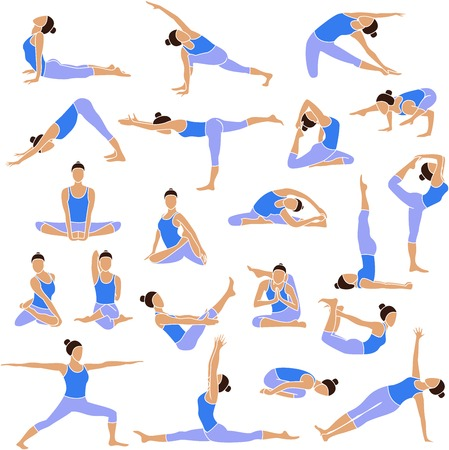 Colored yoga set icons isolated on white background  Female silhouette Vector