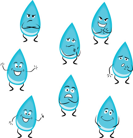 body language: Cartoon water drops with different emotions isolated on white background