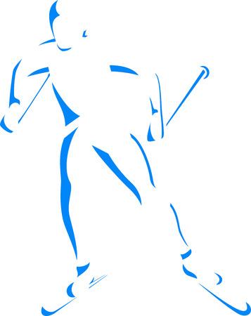 narciarz: Sylwetka narciarstwa biegowego na białym tle Ilustracja
