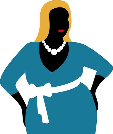 retail shop: Plus tama�o mujer con vestido azul aislado en fondo blanco