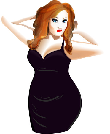 Plus size model in black dress isolated on white background Vector