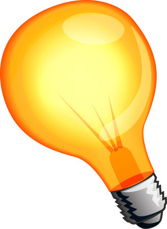 Yellow light bulb vector illustration isolated on white
