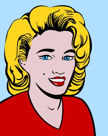 Blond woman in pop art style Illustration