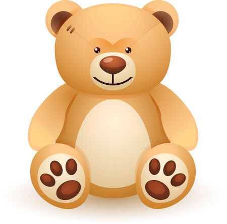 Brown bear toy isolated on white background Vector