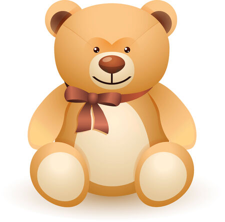 The brown bear toy with a bow isolated on white background