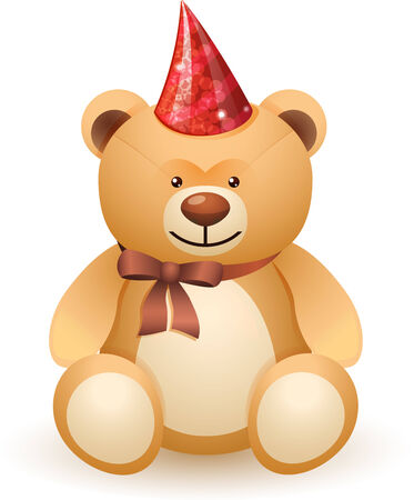 The bear toy with a bow and festive cap isolated on white background Illustration
