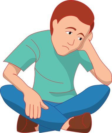 Sad man is sitting on a floor Vector