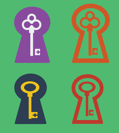 Vector key icon set isolated on green Vector