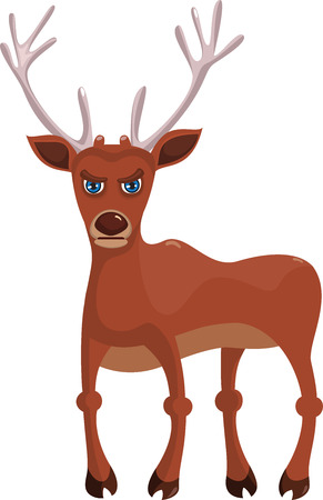 A cartoon angry deer isolated on white background Vector