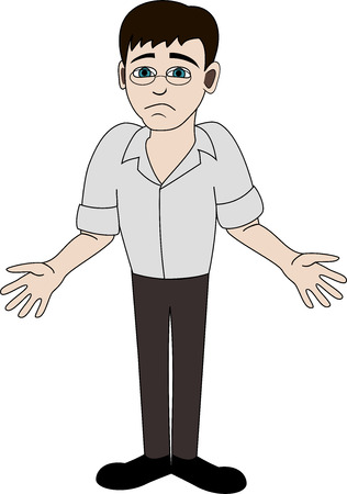 helplessness: Apologetic man on white background.  Illustration