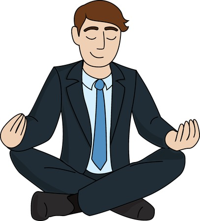 buena postura: El empresario está meditando aislado sobre fondo blanco Vectores