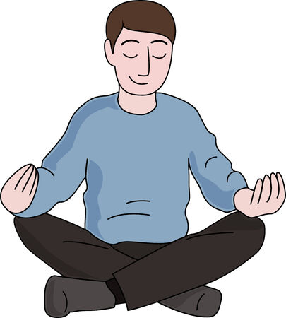 good break: Man in a blue sweater is meditation isolated on white background