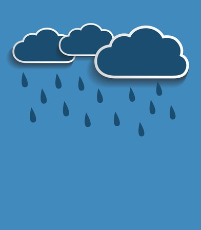 Vector rain clouds with blue background Vector