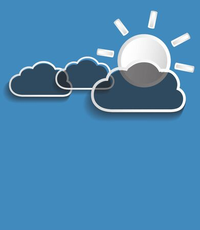 Vector gray clouds with sun isolated on blue background. Illustration