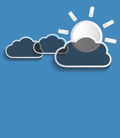 moody sky: Vector nuvole grigie con il sole isolato su sfondo blu.