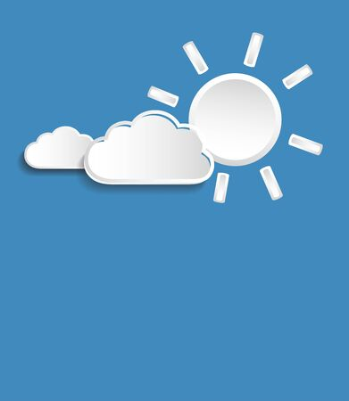 Vector sun with whiter small clouds isolated on blue background.
