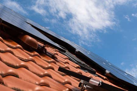 Some new solar panels on a rooftop Reklamní fotografie