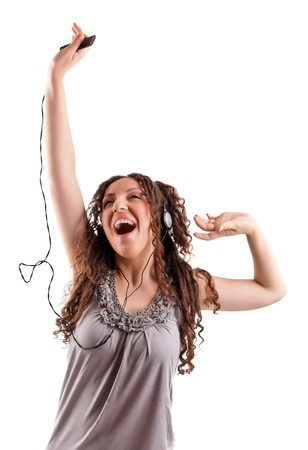 Young girl listens exciting music. Stock Photo
