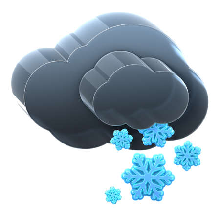 Cloud with heavy snow. Hi-res 3D rendered icon Stock Photo - 8308935