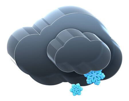 Cloud with light snow. Hi-res 3D rendered icon  photo