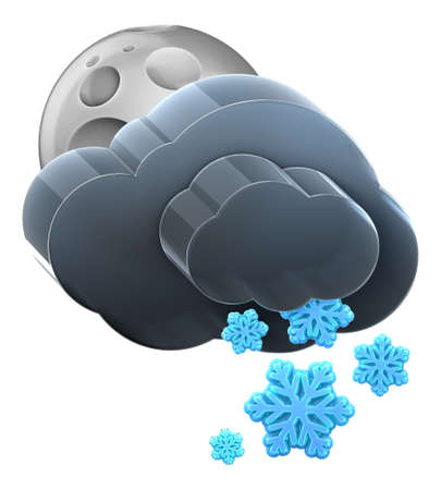 Moon and cloud with heavy snow. Hi-res 3D rendered icon Stock Photo - 8308936