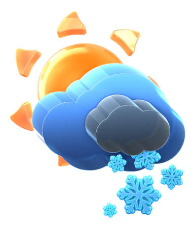 Sun and cloud with heavy snow. Hi-res 3D rendered icon  Stock Photo - 8308926