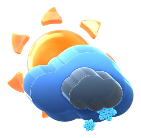 Sun and cloud with light snow. Hi-res 3D rendered icon