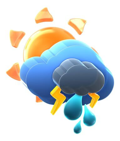 Sun and cloud with thunder rain. Hi-res 3D rendered icon