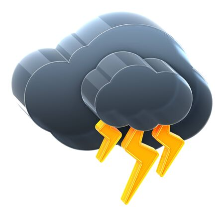 Cloud with thunderstorm. Hi-res 3D rendered icon  Stock Photo
