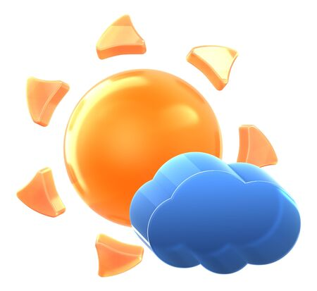 Sun and light cloud. Hi-res 3D rendered icon