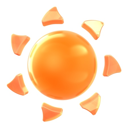 Sun on isolated background. Hi-res 3D rendered icon